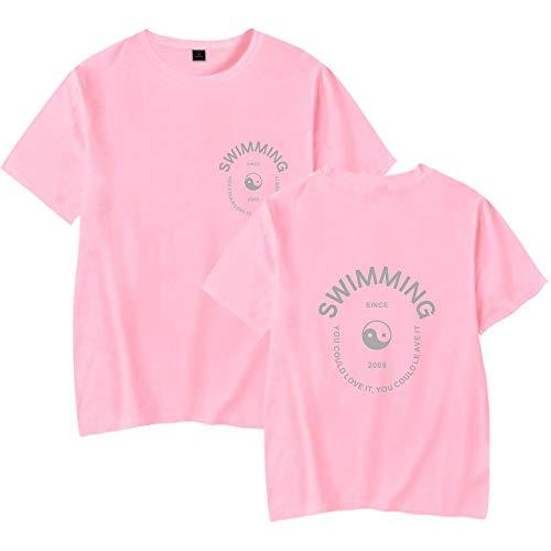 INSTO T-Shirt Karikatur Drucken Kurz Ärmel Unterhemd Rapper Mac Miller Gedruckt T-Stück Fitness Tragen Unisex Einfach Wild/Rosa/L