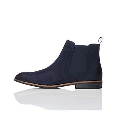 FIND Classic Herren Chelsea-Boots in Wildleder-Optik, Blau (Navy), 40 EU