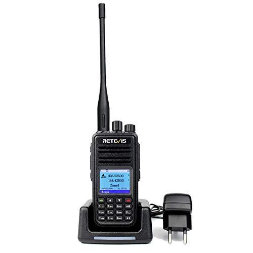 Retevis RT3S DMR Funkgeräte GPS Dualband Amateurfunk Handfunkgerät Doppel Zeitschlitz Digitales/Analoges Funkgerät 3000 Kanäle TDMA kompatibel mit MOTOTRBO (1 Stk., Schwarz) - Analog Gps