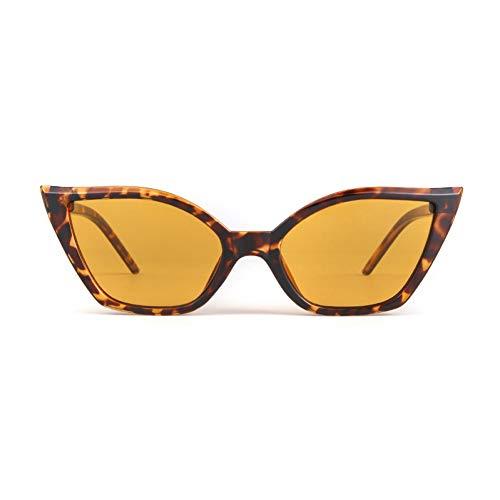 ZRTYJ Sonnenbrille Weinlese-Katzenauge-Sonnenbrille-Frauen-Markendesigner-schwarzer roter Leopard-Rahmen 90S Retro Cateye Sun Glasses Shades