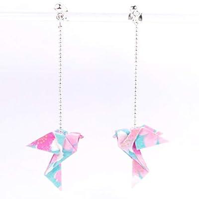 Boucles d'oreilles longues colombes origami bleues et roses