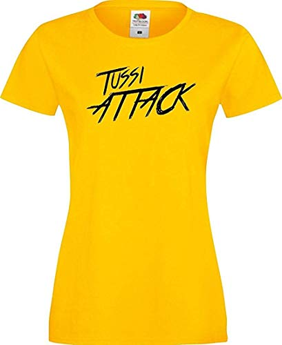 Shirtinstyle Lady T-Shirt Tussi Attack,gelb, S