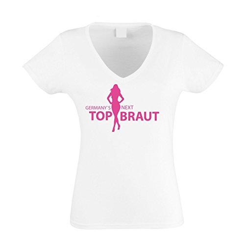Damen V-NECK T-Shirt - Germany's Next Top Braut fuchsia-weiss