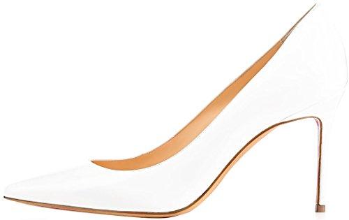 ELEHOT Femme 12cm Taille EU 34-46 Elenow Aiguille 12CM Synthétique Escarpins blanc 8.5cm