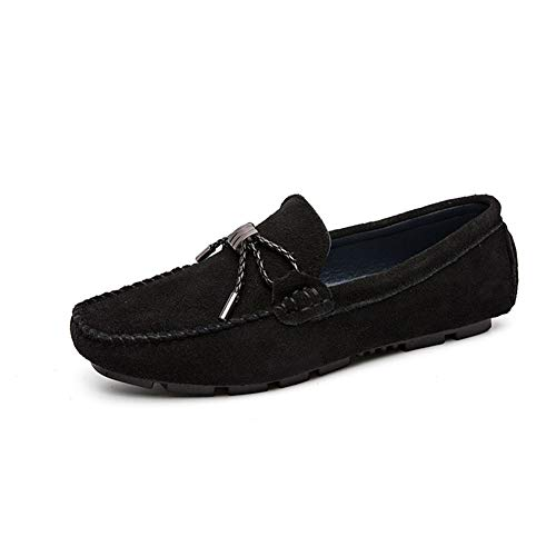 WENQU Bequeme Driving Loafers for Männer Boot Mokassins Slip On Veloursleder Lug Sohle Super Flexible Genähte Atmungsaktive Einfarbig Elegante Dekoration (Color : Schwarz, Größe : 43 EU) -