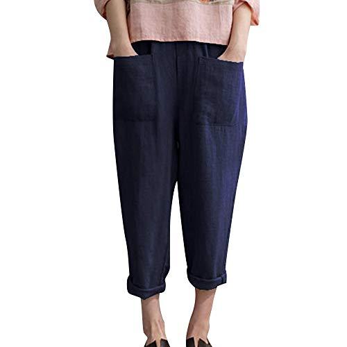 Yvelands Damen Mode Hosen Baumwolle Leinenmischung Tasche Übergröße Hosen Elastische Freizeithosen(Marine,2XL) (Lilly Baby Bettwäsche)