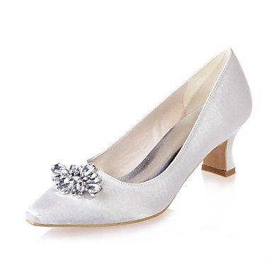 Wuyulunbi@ Scarpe donna raso Primavera Estate della pompa base di nozze blocco scarpe tacco punta quadrata strass per la festa di nozze & Sera Champagne Bianco