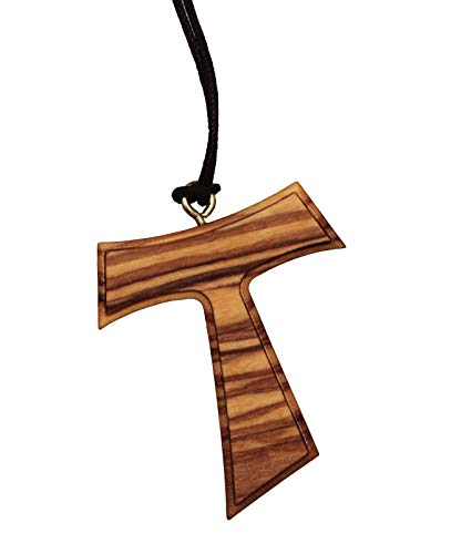 Franziskusweg Tau Franziskus Kreuz Pilgerkreuz Anhänger, Olivenholz, Handarbeit Original aus Assisi