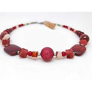 Designer Halskette mit rotem Jasper Edelstein, Koralle, Feuerachat