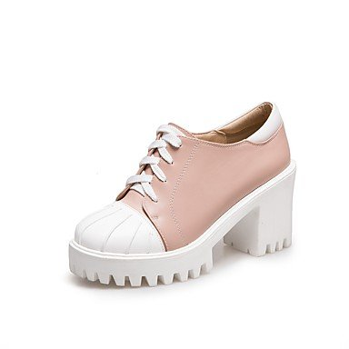 RTRY Donna Comfort Tacchi Primavera Autunno Pu Outdoor Office &Amp; Carriera Lace-Up Chunky Heel Arrossendo Rosa Beige Bianco Nero 3A-3 3/4In US8.5 / EU39 / UK6.5 / CN40