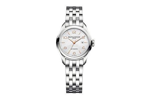 Baume & Mercier Clifton Damen Automatik Uhr mit Silber Zifferblatt Analog-Anzeige und Silber Edelstahl Armband m0a10150