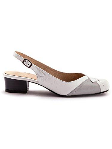 Pediconfort Sandales Bicolores, Talon 3cm - Femme Blanc