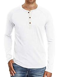 32adb04ef9a3 CHyaog Homme T-Shirt Manches Longues Shirt Manche Courte Tee Shirt Col  Tunisien Uni Henley