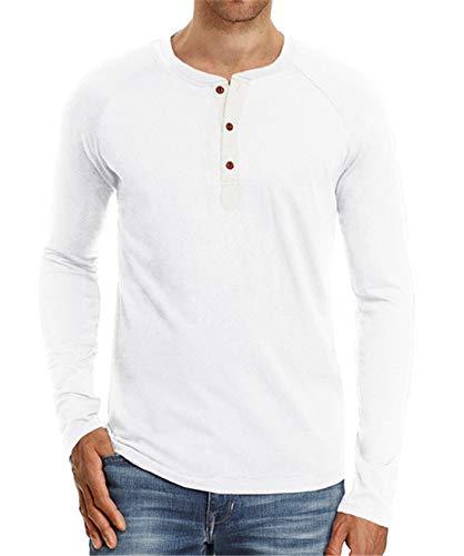 Baumwolle Langarm Henley Shirt (Cyiozlir Herren T-Shirt Langarmshirt mit Grandad-Ausschnitt und Knopfleiste Premium Slim Fit Longsleeve Langarm Shirt für Männer(Weiß,Small))