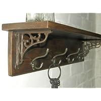 RusticWoodenCrafts Reclaimed wood Hat Coat Rack shelf cast iron wall shelf brackets 5 hooks = 78cm