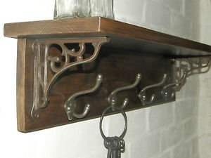 rusticwoodencrafts Antik Look Massivholz Hat & Coat Rack mit Wandregal Cottage vintage Stil mit Wand Klammern und dreifach-Haken, 5 hooks = - Rack Coat Regal Haken Mit