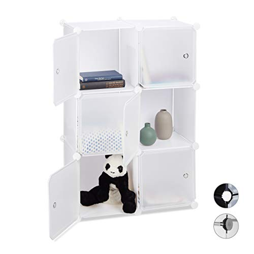 Relaxdays Regalsystem mit 6 Türen, DIY, Cubes, Grifföffnungen, Raumteiler, Badregal, Kunststoff,...