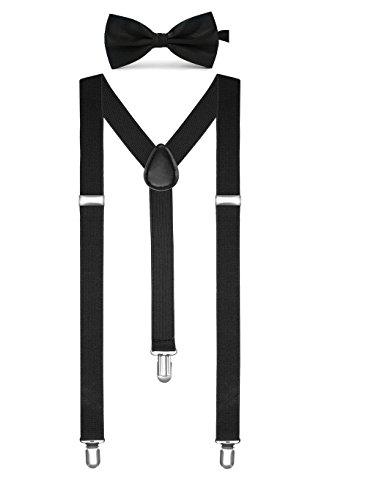 Boolavard Einfarbig Herren Strumpf Fliege Set Clip Auf Y Form Verstellbare Hosenträger ()