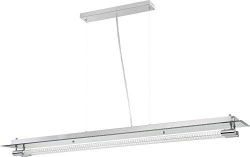 Chrome-transparent-tisch-lampe (36 Watt LED Hänge Pendel Lampe Chrom Glas Rohr Esszimmer Beleuchtung EEK A Globo 48045H2)