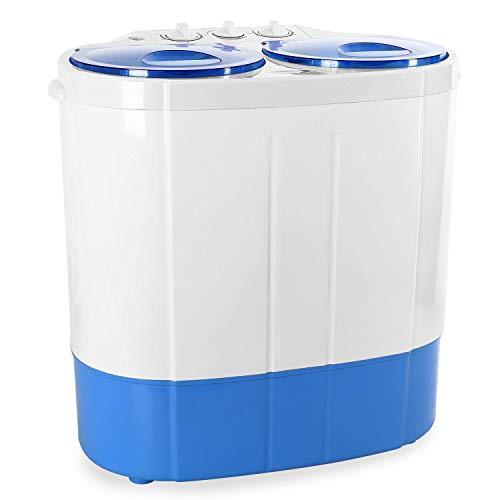 oneConcept DB003 - Waschmaschine, Mini-Waschmaschine, Camping-Waschmaschine, Wäscheschleuder, für Singles, Studentenhaushalte, Camper, 2 kg Waschkapazität, 250 Watt Waschleistung, weiß-blau