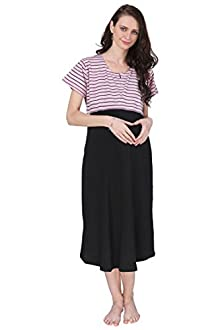 a9d62bcd618 Vixenwrap Pink   Black Striped A-Line Maternity Gown(XXL Pink)