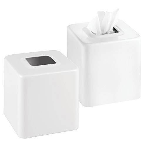mDesign Juego de 2 cajas para pañuelos de papel – Caja para toallitas para baño, dormitorio o cocina – Dispensador de pañuelos de metal – Preciosas cubiertas para cajas de pañuelos normales – blanco