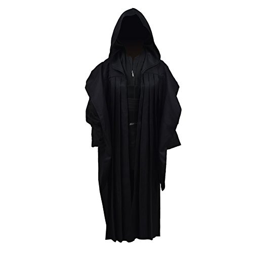 Qian Qian Kinder Tunic Cosplay Kostüm Mit Kapuze Robe Outfits Halloween Knight Umhang Anzug Uniform (XL, Schwarz ()
