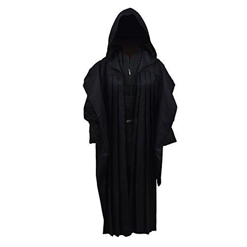 Qian Qian Kinder Tunic Cosplay Kostüm Mit Kapuze Robe Outfits Halloween Knight Umhang Anzug Uniform (XL, Schwarz Umhang)