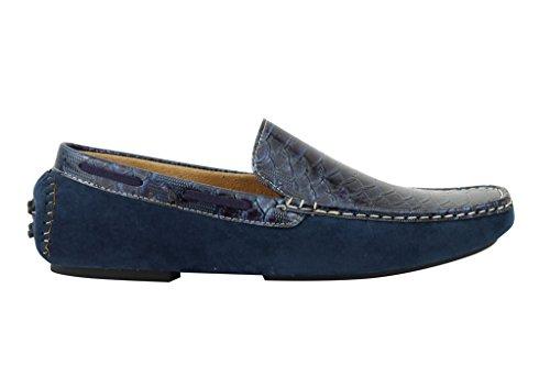 mensblue brevet Tan en imitation daim Chaussures Mocassins Mocassins. Antidérapant sur la conduite en cuir effet serpent Bleu