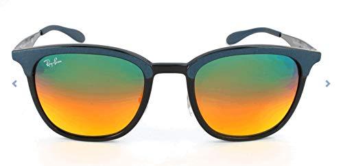 RAYBAN JUNIOR Unisex-Erwachsene Sonnenbrille RB4278, Black/Matte Blue/Lightbrownmirrorredgrad, 51