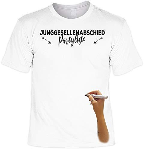 T-Shirt weiß Junggesellenabschied Partyliste mit Permanent Marker