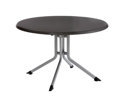 Kettler Klapptisch Boulevard 100 cm - runder Gartentisch mit Aluminiumgestell und KETTALUX-PLUS Tischplatte - silber & anthrazit