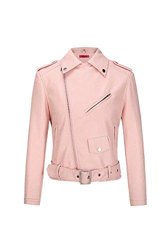 Donne Le Faux Cuoio Cuciti La Bocca Breve Cappotto Moto Giubbotto Pink