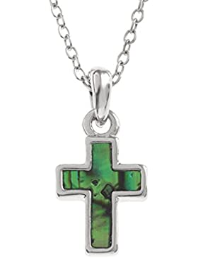 Kiara Schmuck Kreuz klein mit Grün intarsiert Paua Abalone Shell auf 45,7 cm Trace Kette. Silber Farbe, Rhodiniert...