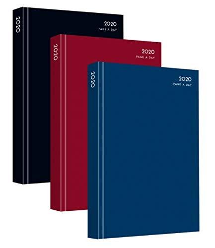 Agenda 2020, pagine per giorno, copertina rigida, formato A4, visualizzazione giornaliera, colori assortiti