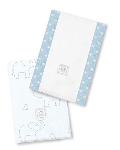 SwaddleDesigns Paños de Bebé, Elefantes plata deco, Azul claro, Set de 2