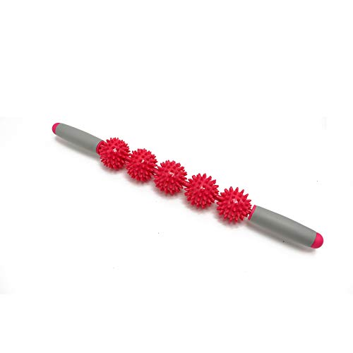 Sunnybluee anti cellulite massager stick anti-cellulite trigger point stick corpo gamba viso gamba dimagrante massaggio rullo muscolare rosa 5 palla