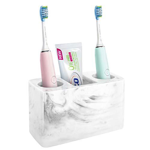 Luxspire Resin Toothbrush Holder, 3 Slots Hygienic Handmade Toothbrush Storage Stand Dispenser Bathroom Organizer Set for Electric Toothbrush, Toothpaste, Razor - Tinte Weiß -