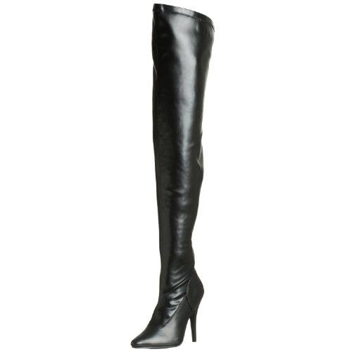 PleaserUSA High Heels-Overkneestiefel Seduce-3000 Mattschwarz