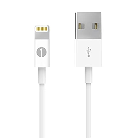 [Apple MFI Certified] 1Byone Lightning to USB Cable 3.28ft (1M) for iPhone 7/7Plus, iPhone 6/6s, 6/6s Plus, iPhone 5/5s/5c, iPad with Retina display, iPad mini, iPad Air, iPad Pro,iPod nano 7th Gen and iPod touch 5th Generation for iPhone Charger Cable-1-Year Limited Warranty