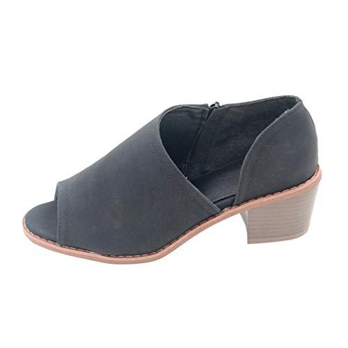 Damen Schuhe, Resplend Frauen Vintage Sandalen Fisch Mund Schuhe Einfarbig Zipper High Heel Schuhe