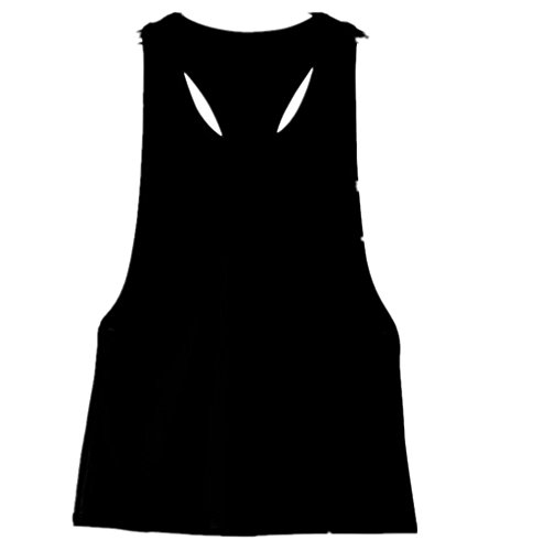 Tefamore Women Summer Loose Gym Sport Vest Training Running Tops (L, Black)