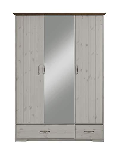 Steens Hanstholm Kleiderschrank, 5 Türen, mit Spiegeltür, 238 x 206 x 61 cm (B/H/T), Kiefer massiv, Weiß - Aus Vintage Holz Kleiderschrank