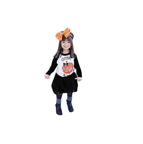 et Baby Mädchen Herbst Zweiteiliges Set Halloween Drucken Kostüm Kürbis Schädel Strampler Rüschen Tutu Rock Schuhe Weihnachten Cosplay Partei Kleid ()