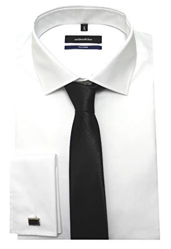 Seidensticker Manschettenhemd weiß mit Krawatte u. Man.knöpfe L 42