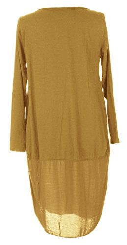 Damen Womens italienischen Lagenlook Long Sleeve 3 Taste U Form unten Fallschirm Cocoon Baumwolle Tunika Kleid One Size UK 8-12 Senf