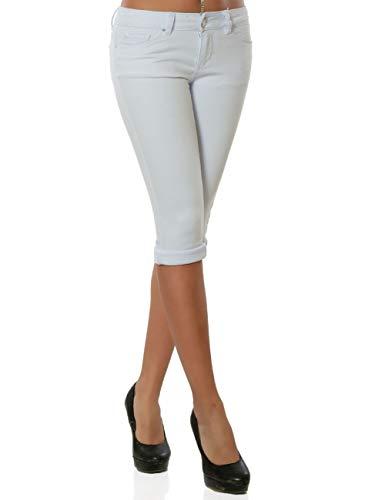 Daleus Damen High-Waist Capri Jeans Kurze Sommerhose DA 15990 Farbe Weiß Größe XL / 42 - Weiße Stretch-capris