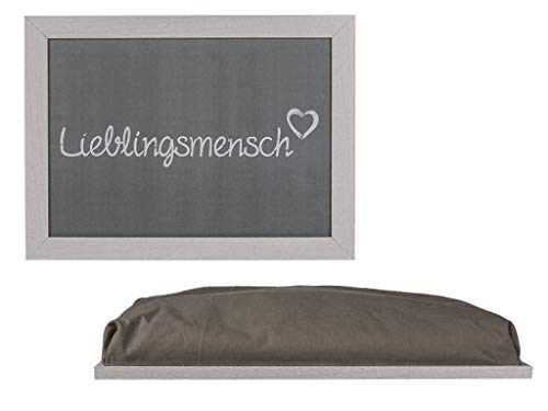 Bavaria Home Style Collection - LIEBLINGSMENSCH TABLETT einsetzbar als Knietablett mit Kissen für Laptop zum Essen im Bett Schosstablett Knieauflage Kniekissen Geschenkidee Valentinstag
