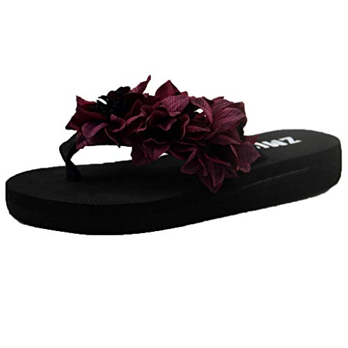 Xmiral Slippers Sandals Women Muffin Wedge Home Bathroom Beach Flip Flops Shoes Sole Eva Heel High 3 cm(4.5 UK,Wine) Red Patent Leather Platform Slingback Schuhe