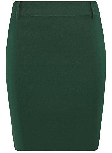 oodji Ultra Donna Gonna Classica Elasticizzata a Tubino Verde (6900N)